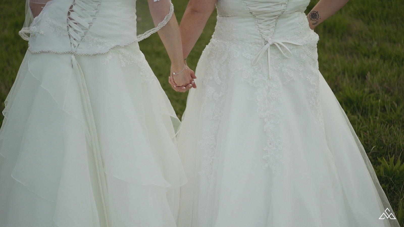 Same Sex wedding film Chaucer Barn Louisa and Amber