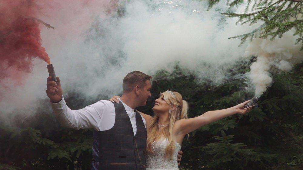 norfolk wedding videographer smoke bombs phillipa and david
