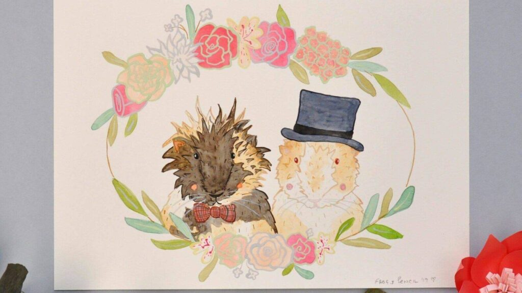 Frog-and-pencil-wedding-stationary